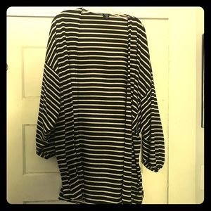 Black and white striped casual cardigan, one size